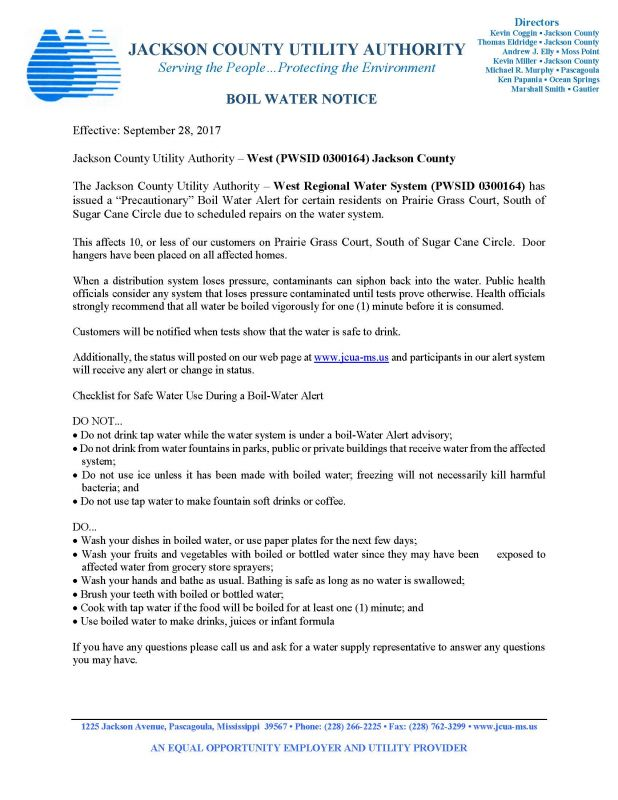 BOIL WATER NOTICE - SEPTEMBER 28, 2017