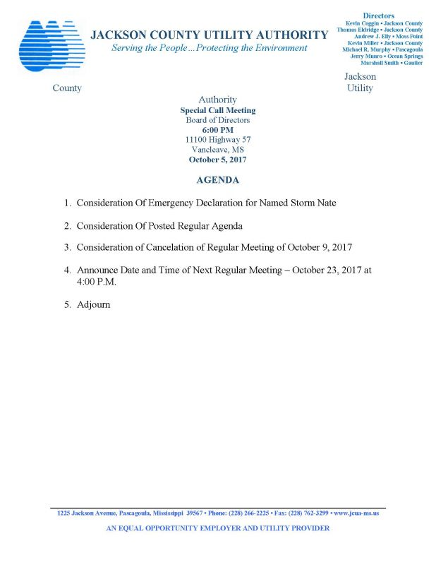 17-10-05 SPECIAL BOARD MEETING AGENDA
