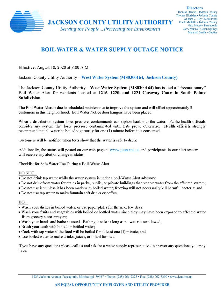 08/10/2020 Scheduled Boil Water Notice