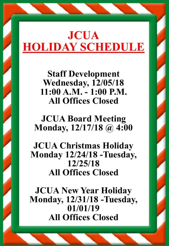 JCUA DECEMBER HOLIDAY CLOSINGS