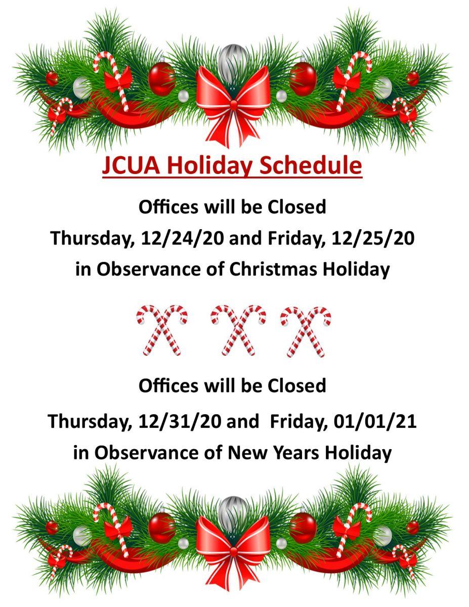 2020 JCUA Christmas and New Year Holidays