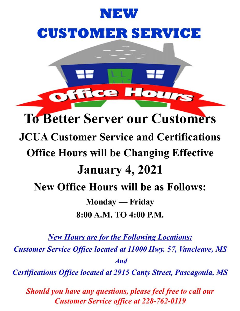 Customer Service and Certifications New Hours Effective 01/04/21