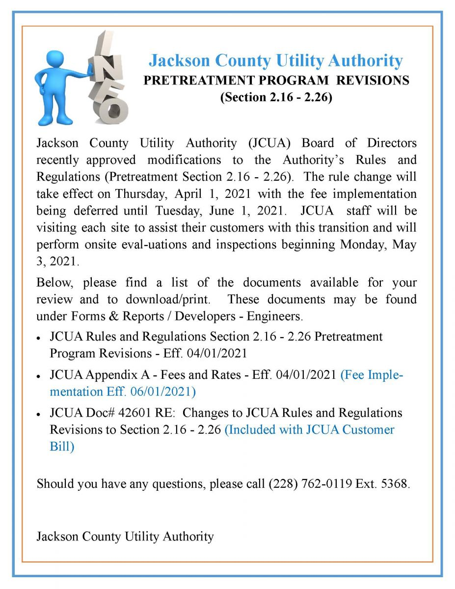 JCUA Rules and Regulations Pretreatment Program Revisions Section 2.16 - 2.26, Eff. 04/01/2021