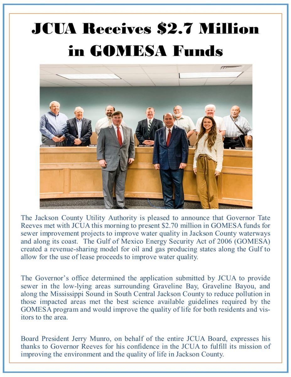 JCUA Receives $21.7 Million in GOMESA Funds