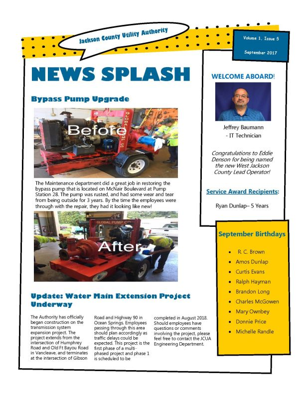 SEPTEMBER 2017 MONTHLY NEWSLETTER